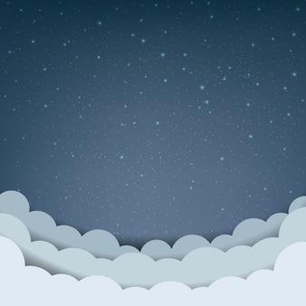 Ciel de dessin animé avec des étoiles et des nuages
