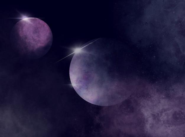 Ciel de l'espace lointain avec voie lactée et fond de planètes