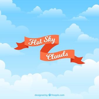 Ciel avec fond de nuages au design plat