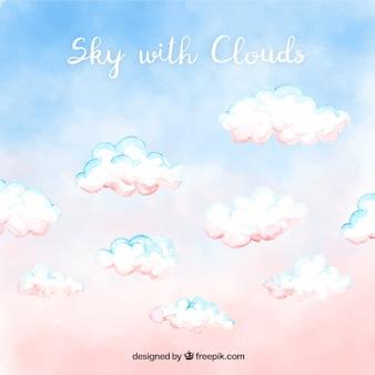Ciel avec fond de nuages dans un style aquarelle