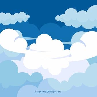 Ciel avec fond de nuages dans un style plat