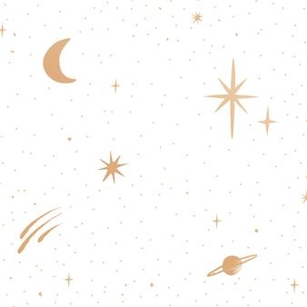 Ciel de galaxie d'or d'étoiles scintillantes sur le fond blanc