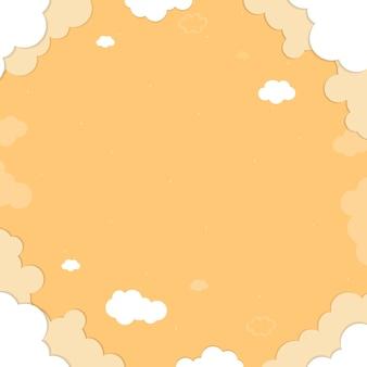 Ciel jaune avec des nuages à motifs fond vecteur