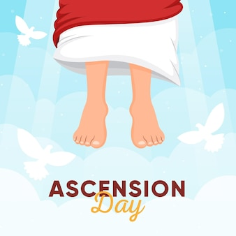 Ciel de jour de l'ascension et pigeons