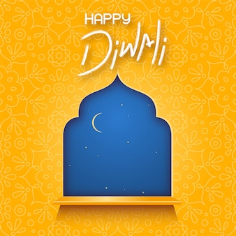 Ciel nocturne avec croissant dans la fenêtre et texte joyeux diwali.