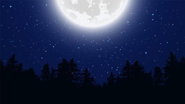 Ciel nocturne étoilé. pleine lune. fond de vecteur