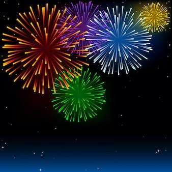 Ciel nocturne avec feux d'artifice de vacances colorés