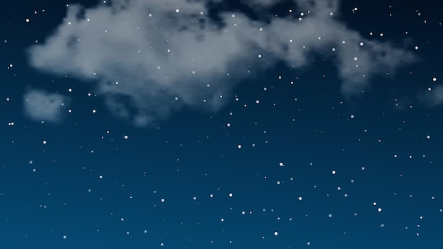 Ciel nocturne avec des nuages et de nombreuses étoiles. fond de nature abstraite avec de la poussière d'étoile dans l'univers profond. illustration vectorielle.