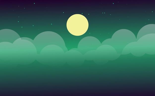 Ciel nocturne avec le vecteur au clair de lune