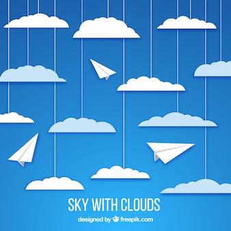 Ciel avec des nuages dans le style de papier