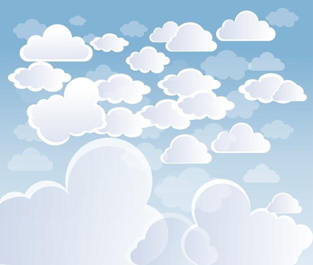 Ciel avec nuages vecteur