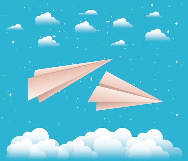 Ciel avec papier avions vector illustration design