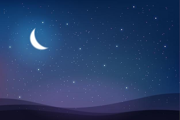 Ciel plein d'étoiles et demi-lune