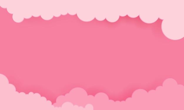 Ciel rose avec fond de nuages