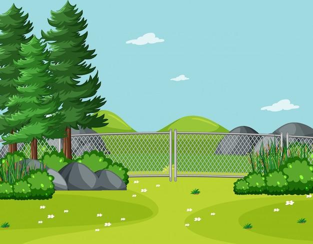 Ciel Vide Dans La Scène Du Parc Naturel Avec Arbre Vecteur Premium