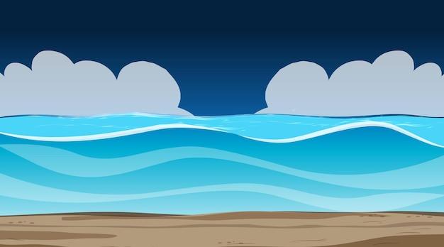 Ciel vide la nuit avec paysage d'inondation vide