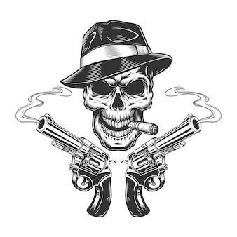 Cigare fumant crâne tueur monochrome vintage