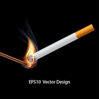 Cigarette avec allumette allumée sur fond noir