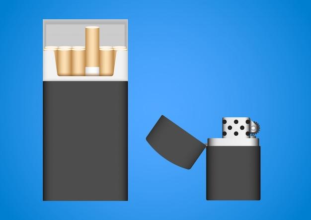 Cigarette Et Briquet Vecteur Premium