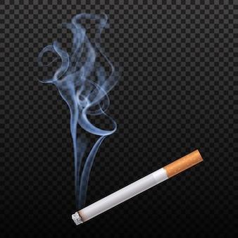 Cigarette brûlante isolée