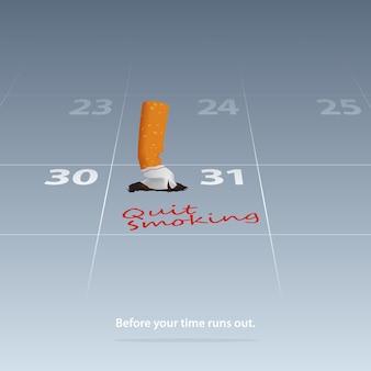 Cigarette cassée marquée date arrêtée de fumer sur le calendrier 31 mai.