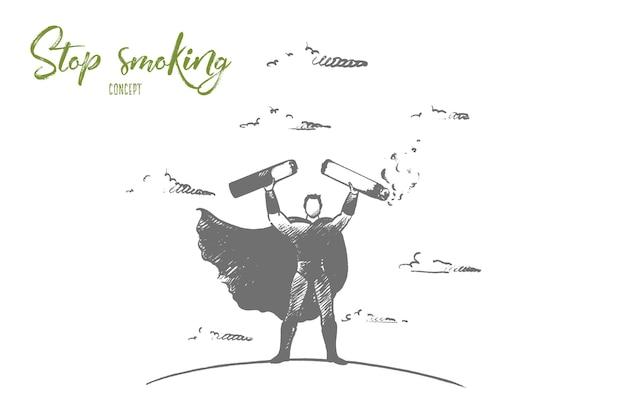 Cigarette de courtage de super-héros dessinés à la main