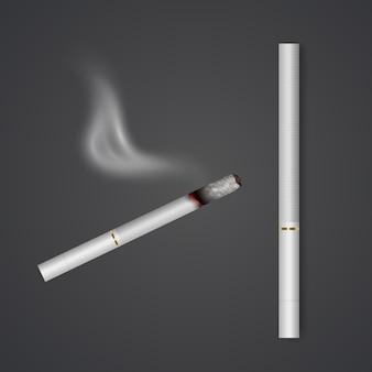 Cigarette entière réaliste et ensemble de cigarettes avec différentes étapes de brûlure