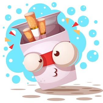 Cigarette mignonne et folle - personnages de dessins animés