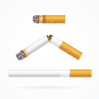 Cigarette réaliste avec filtre traditionnel - longue, cassée et stub.