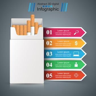 Cigarette, vaper, fumée - infographie d'affaires.