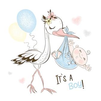 La cigogne a amené le petit garçon. douche de bébé.
