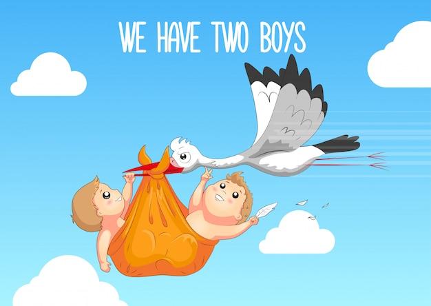 Cigogne avec bébé