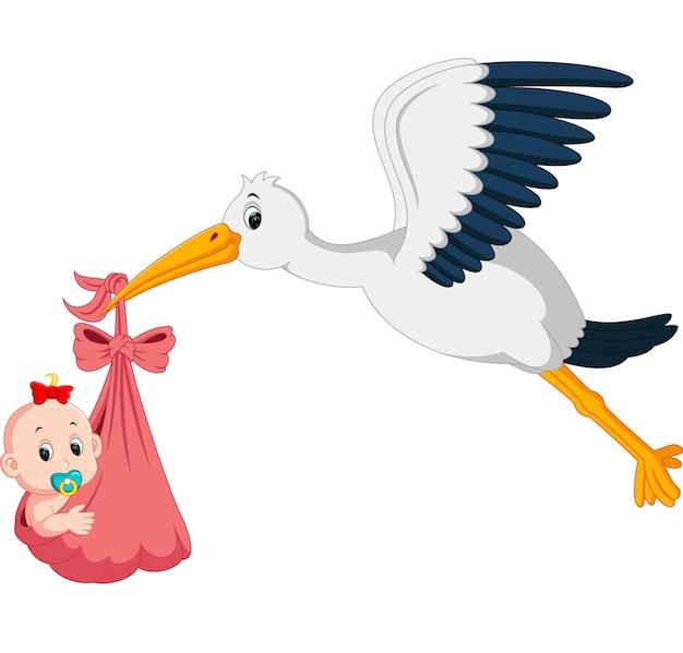 Cigogne avec dessin animé bébé