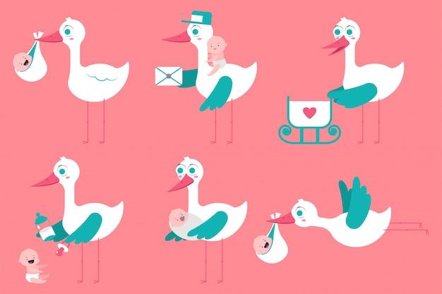 Cigogne de dessin animé mignon avec jeu de bébé nouveau-né isolé sur fond.