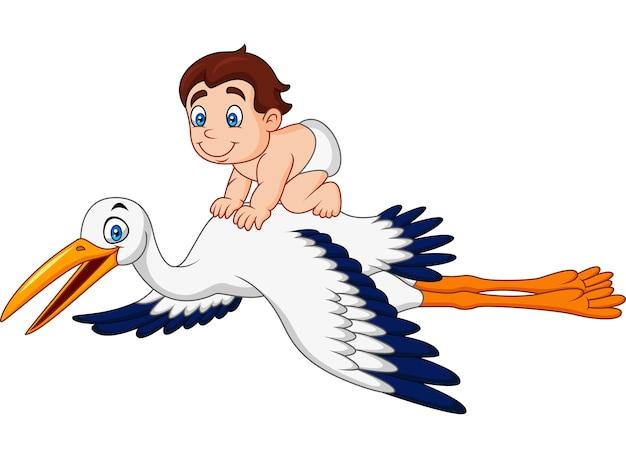 Cigogne de dessin animé portant un bébé