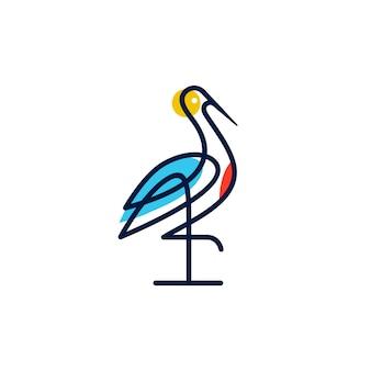 Cigogne logo coloré dessin au trait monoline contour illustration télécharger