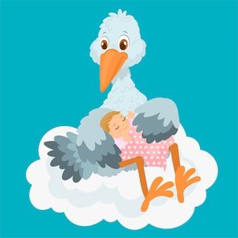 Cigogne mignonne portant un bébé