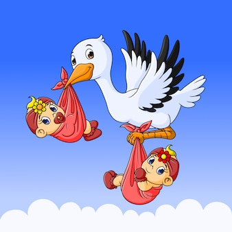 Cigogne avec un nouveau-né jumeau bébé filles.