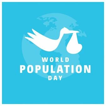 Cigogne portant un concept de la journée mondiale de la population de bébé heureux