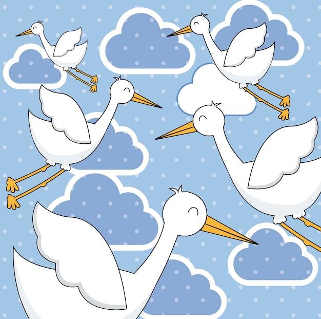 Cigognes mignonnes au cours de l'illustration vectorielle fond ciel