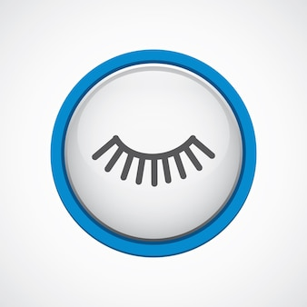 Cils brillants avec icône de trait bleu, cercle, isolé