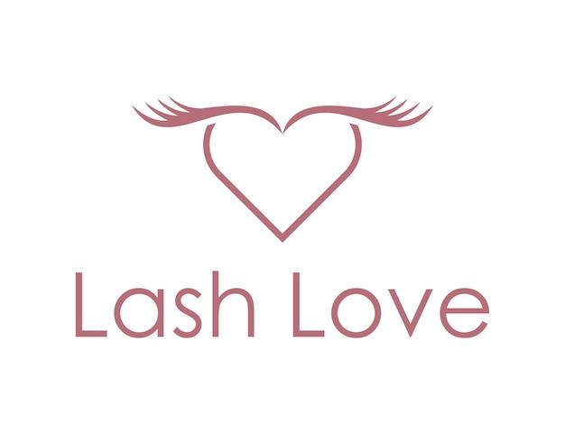 Cils avec coeur d'amour pour la cosmétique et la beauté design de logo simple et moderne
