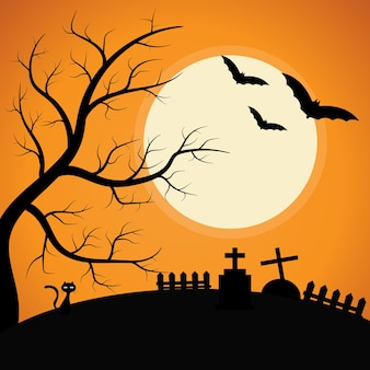 Cimetière avec arbre fantasmagorique sous le clair de lune halloween background