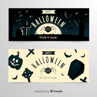 Cimetière dans la nuit des bannières d'halloween