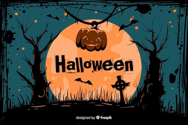 Cimetière de fond de halloween grunge sur une pleine lune