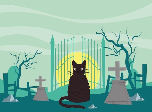 Cimetière d'halloween avec chat