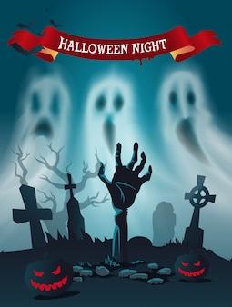 Cimetière d'halloween effrayant