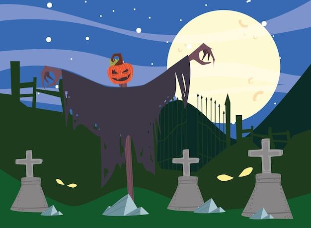 Cimetière d'halloween avec épouvantail