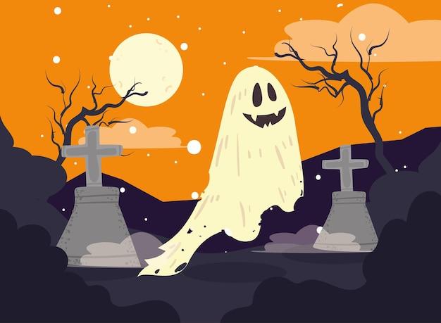 Cimetière d'halloween avec fantôme