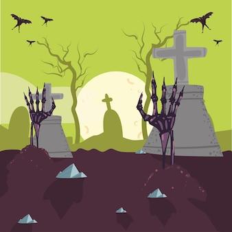 Cimetière d'halloween avec des mains de zombies